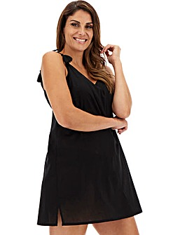 Basic Black Cotton Strappy Beach Dress