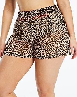 Leopard Print Georgette Beach Shorts