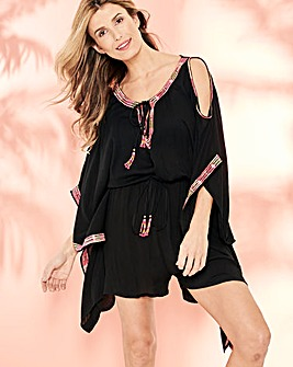 Split Sleeve Embroidered Playsuit