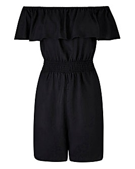 Black Bardot Frill Playsuit