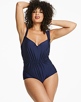 Navy Drape Front Swimsuit
