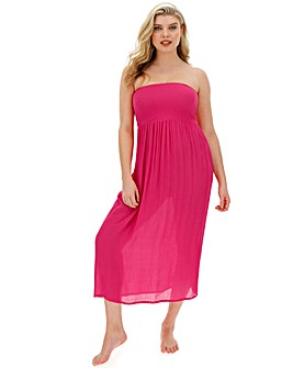 Pink Shirred Top Maxi Beach Dress