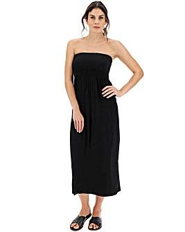 Black Shirred Top Maxi Beach Dress