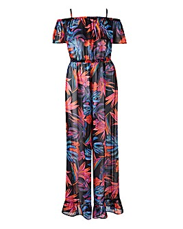Cold Shoulder Sheer Beach Jumpsuit