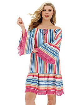 Bardot Stripe Beach Tunic