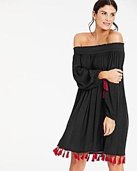 Tassle Trim Bardot Beach Dress