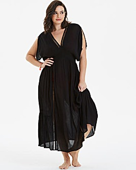 Beachwear Embroidered Insert Maxi Kaftan