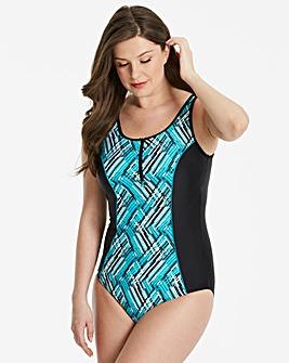 Beach To Beach Zip Front Swimsuit