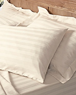300TC Sateen Stripe Flat Sheet Pack of 2