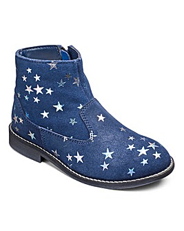 Girls Leather Star Print Boots