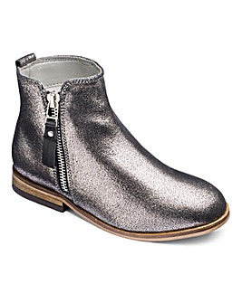 Girls Leather Silver Shimmer Zip Boots