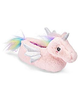 Girls Pink Unicorn Slippers