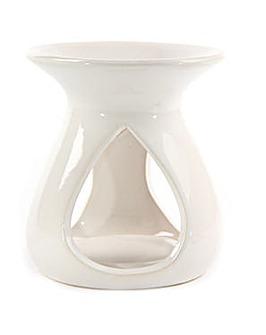 Abstract Gloss White Ceramic Oil Burner