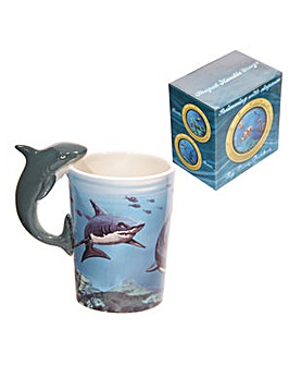 Ceramic Shaped Handle Novelty Mug - Shark