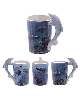 Shaped Handle Novelty Mug - Dolphin