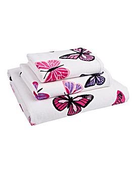 Printed Butterflies Bath Towel
