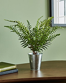 Artificial Fern in Silver Pot
