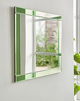 Green Glass Square Mirror