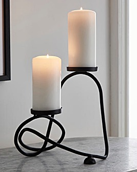 Abstract Matt Black Candle Holder
