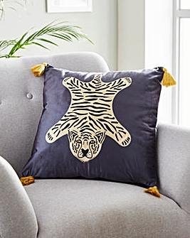 Tiger Print Velvet Cushion