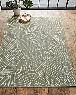 Sunlight Leaf Flatweave Indoor Outdoor Rug