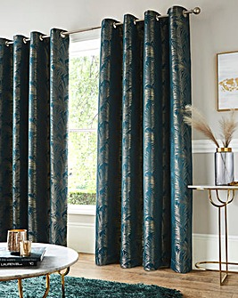 Metallic Leaf Eyelet Curtains
