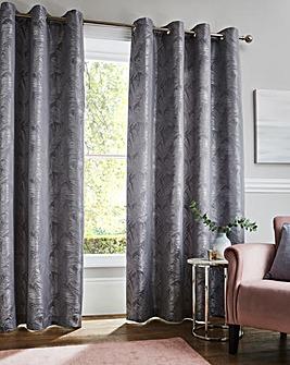 Metallic Leaf Eyelet Curtains