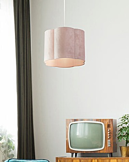Blush Pink Velvet Scallop Shade