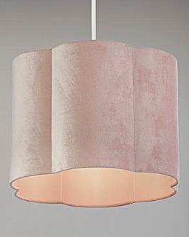 Blush Pink Velvet Scallop Shade
