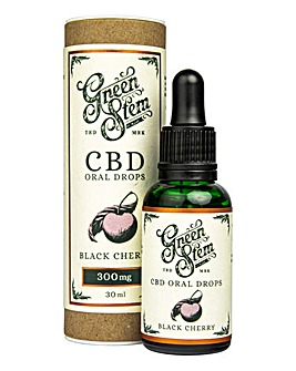 Green Stem Black Cherry Flavoured CBD Oil Oral Drops - 300mg
