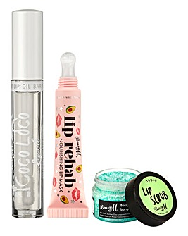 Barry M Lip Care Bundle - Lip Rehab, Coco Loco Lip Oil and Apple Lip Scrub