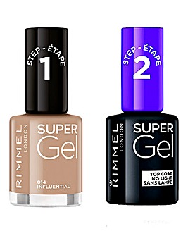 Rimmel Super Gel Nail Polish Influential and Super Gel Top Coat Duo