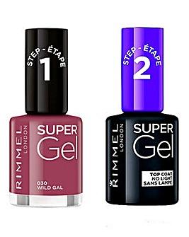 Rimmel Super Gel Nail Polish Wild Gal and Super Gel Top Coat Duo