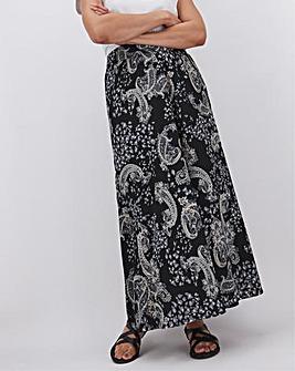 Paisley Print Crepe Maxi Skirt