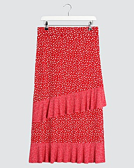 Spot Double Ruffle Midi Skirt