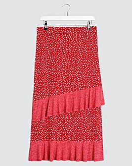 Spot Double Ruffle Midi Skirt