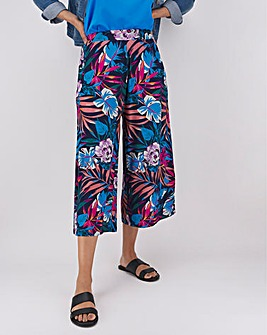 Floral Print Jersey Culottes