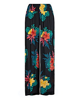 Floral Crinkle Wide Leg Trousers Regular