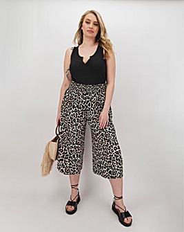Print Crinkle Shirred Waist Culottes