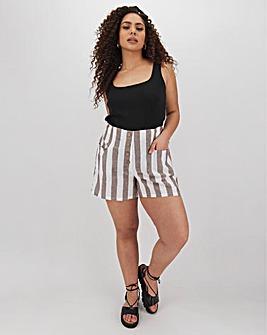 Linen Blend Stripe Button Shorts
