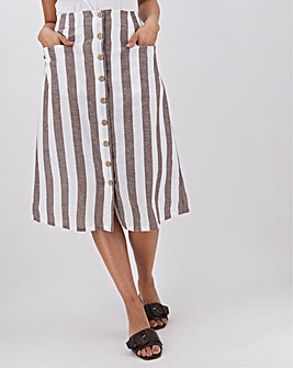 Linen Blend Stripe Button Through Midi Skirt