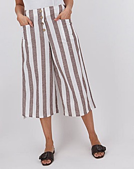 Linen Blend Button Detail Culottes