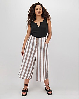 Linen Blend Stripe Button Detail Culottes