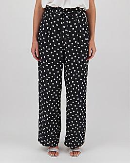 Spot Paperbag Waist Wide Trousers Regular
