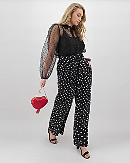 Spot Paperbag Waist Wide Trousers Regular