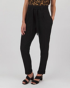 Paperbag Waist Tapered Leg Trousers