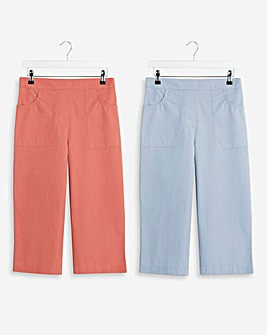 2 Pack Woven Crop Trousers