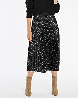 Spot Satin Pleat Midi Skirt