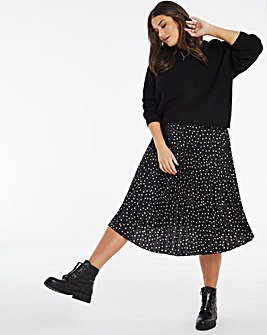 Spot Satin Pleat Midi Skirt