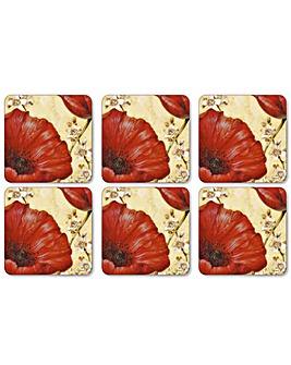 Pimpernel Poppy De Villeneuve Coasters